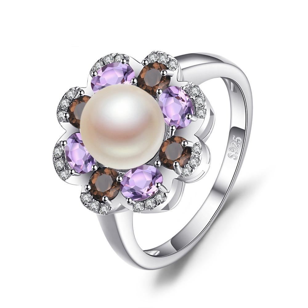 7mm Cultured Pearl 1ct Smoky Quartz Amethyst Cluster Ring 1437