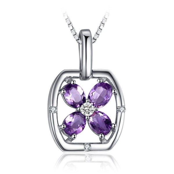 0.6ct Purple Amethyst Flower Pendant - Without Chain 1486
