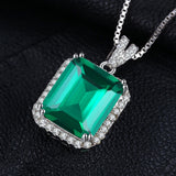6.5ct Emerald Sterling Silver Unique Pendant Necklace -Without Chain 1498