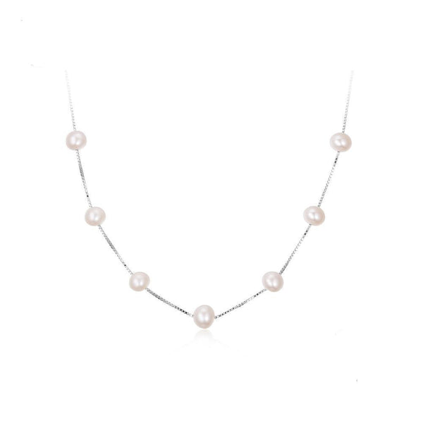 Round 6.5mm Freshwater Cultured Pearl Box Chain Necklace 1473