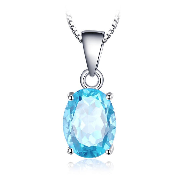 Oval 2.1ct Sky Blue Topaz Birthstone Solitaire Pendant - Without Chain 1509