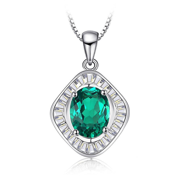 2ct Emerald Sterling Silver Pendant - Without Chain 1494