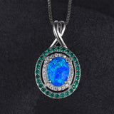 1.5ct Oval Opal Emerald Pendant With Chain 1463
