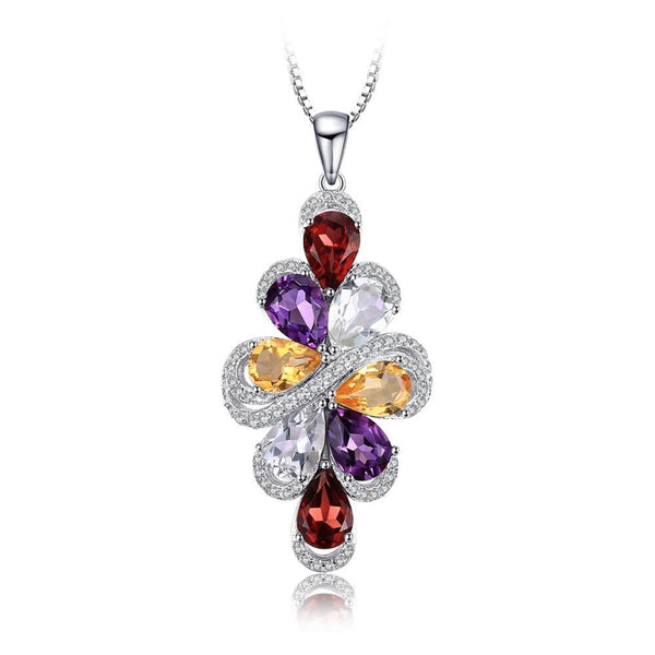 6ct Multicolor Gemstone and Sterling Silver Pendant 1466