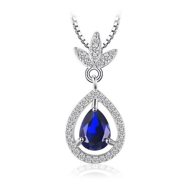 Elegant 2.8ct Pear Sapphire and Sterling Silver Pendant 1472