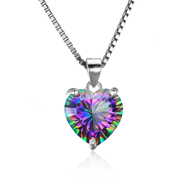 Heart 4.35ct Rainbow Fire Mystic Topaz Pendant - Without Chain 1585