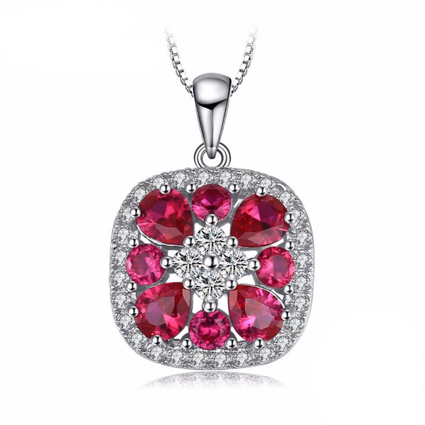Classic 3ct Ruby Sterling Silver Pendant 1579