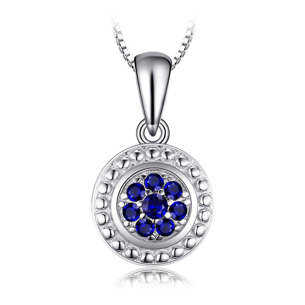 Flower Blue Spinel Round Pendant Necklace 1551