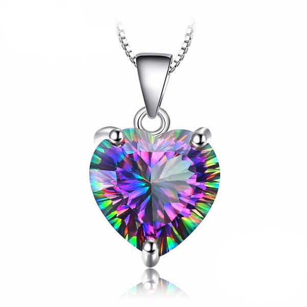 Heart 4.35ct Rainbow Fire Mystic Topaz Pendant Necklace 1556