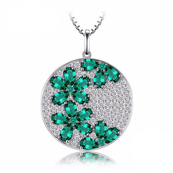 Round Flower 3.54ct Emerald Pendant - Without Chain 1559