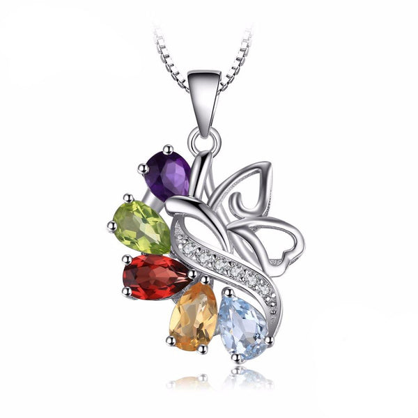 2.5ct Genuine Multi-Gemstones Sterling Sliver Pendant - Without Chain 1586
