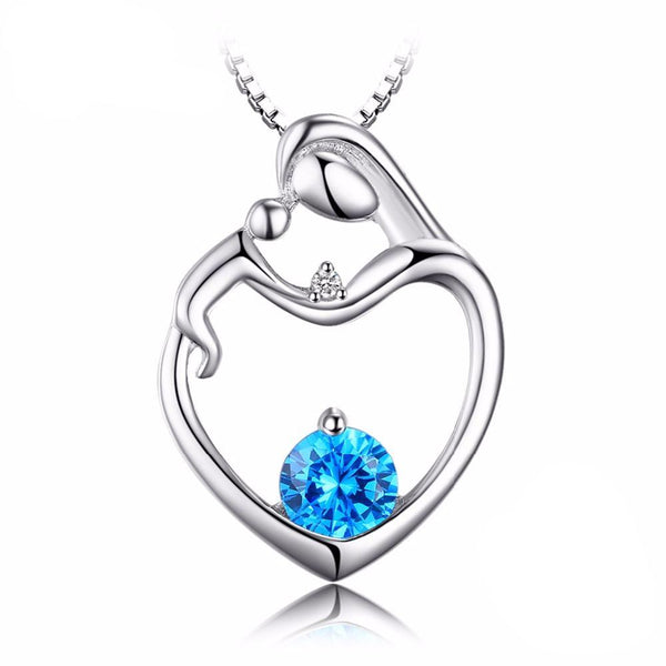 Love Natural Blue Topaz Sterling Silver Pendant 1569