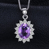 1.8ct Halo Amethyst Pendant - Without Chain 1530