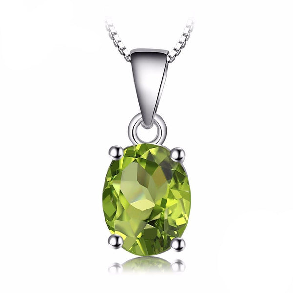 Oval Birthstone 1.7ct Green Peridot Solitaire Pendant - Without Chain 1566