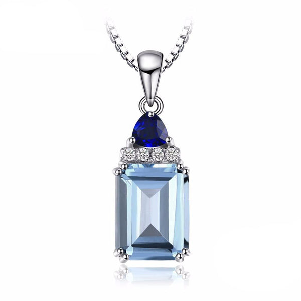 1.5ct Emerald Cut Sky Blue Topaz & Sapphire Pendant - Without Chain 1572