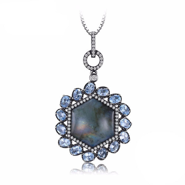 Deluxe 17.5ct Labradorite Sky Blue Topaz & Black Gold Plated Pendant 1577