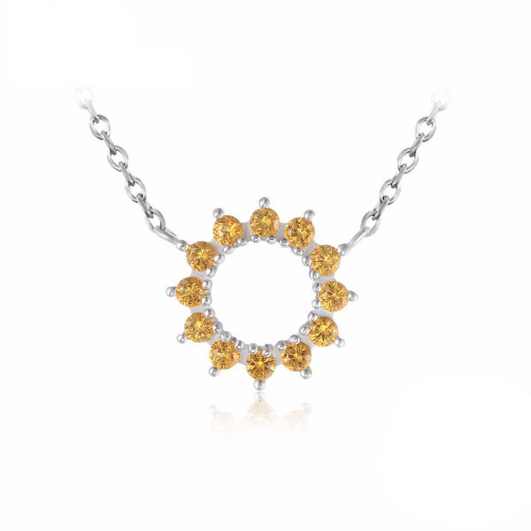 0.3ct Yellow Citrine Flower Necklace 1567