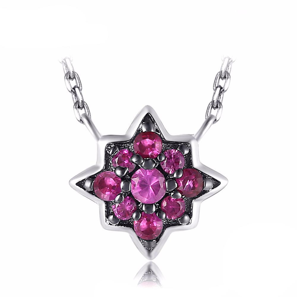 Vintage Flower 0.2ct Pink Ruby Necklace 1571