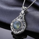 Vintage 2.6ct Labradorite Carved Pendant Necklace 1554