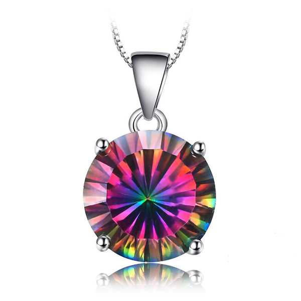 Round Rainbow Fire Mystic Topaz Pendant - Without Chain 1545