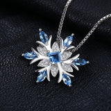Snowflake Blue Topaz Sterling Silver Pendant Necklace 1546