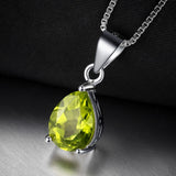 Solitaire 1.5ct Green Peridot Birthstone Pendant Necklace 1560