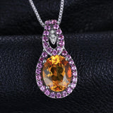 Elegant 4.5ct Oval Orange & Pink Sapphire Pendant Necklace 1580