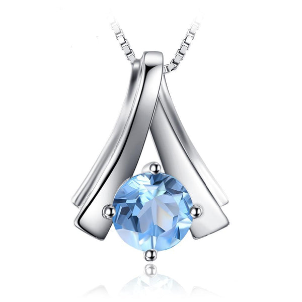 1ct Round Blue Topaz Pendant - Without Chain 1518