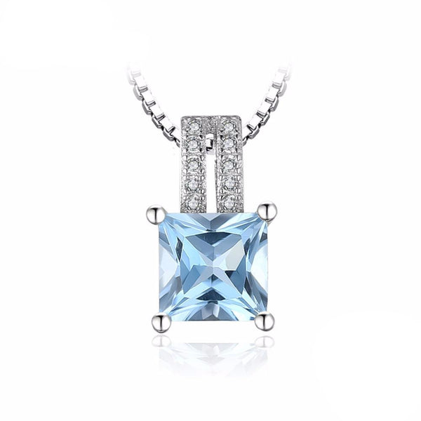 1.3ct Princess-Cut Sky Blue Topaz Pendant - Without Chain 1568