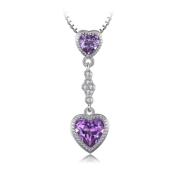 Double Heart 3.1ct Alexandrite Sapphire Pendant Necklace 1550