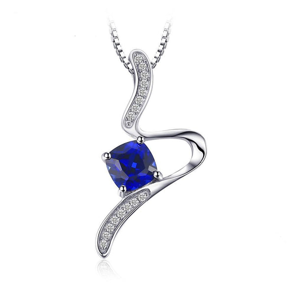 Geometric 1.4ct Cushion Sapphire Pendant Necklace 1526