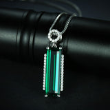 3ct Sterling Silver Emerald Pendant Necklace 1523