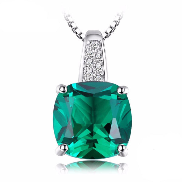 Cushion 3.4ct Green Emerald Solitaire Pendant - Without Chain 1576