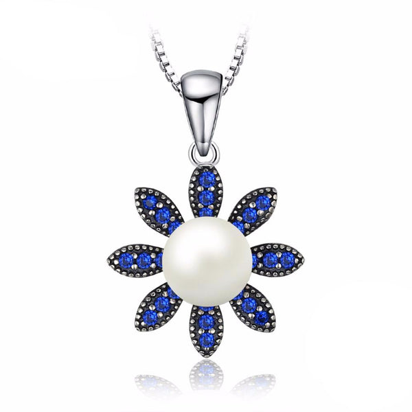 Flower 0.2ct Blue Spinel & Cultured Pearl Pendant - Without Chain 1584