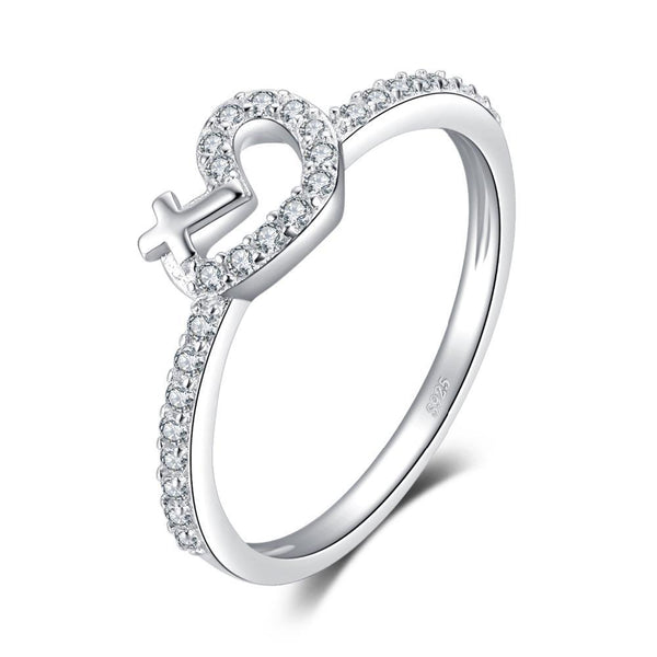 925 Sterling Silver Heart Cross Promise Ring