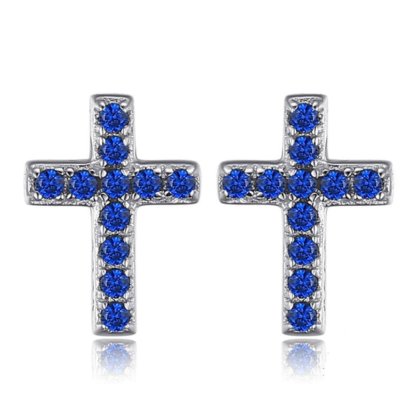 925 Sterling Silver Blue Spinel Cross Earrings