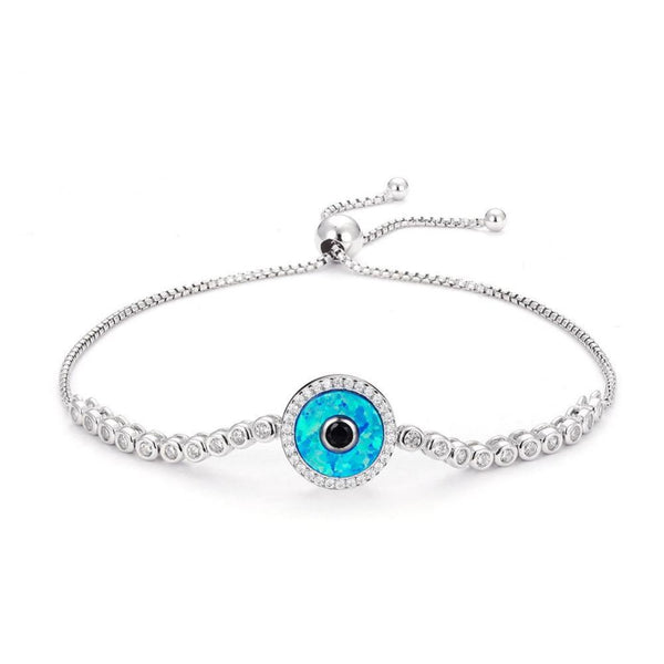 "925 Sterling Silver ""God's Eye"" Adjustable Bracelet"