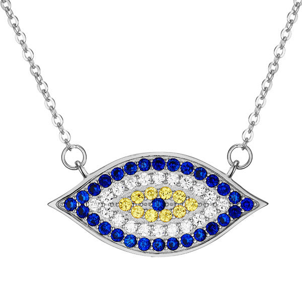 925 Sterling Silver Evil Eye Necklace with White Crystals