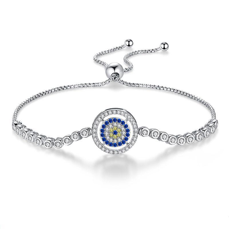 925 Sterling Silver Bracelet Adjustable Halo Evil Eye Bracelet