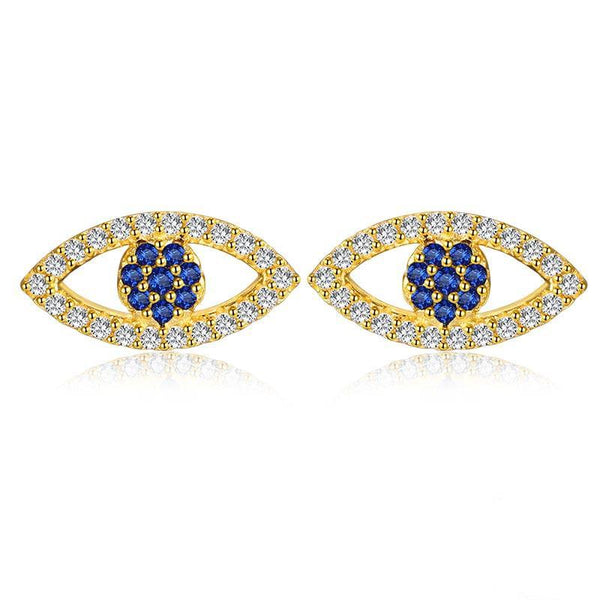 Gold 925 Sterling Silver Lucky Eye Stud Earrings