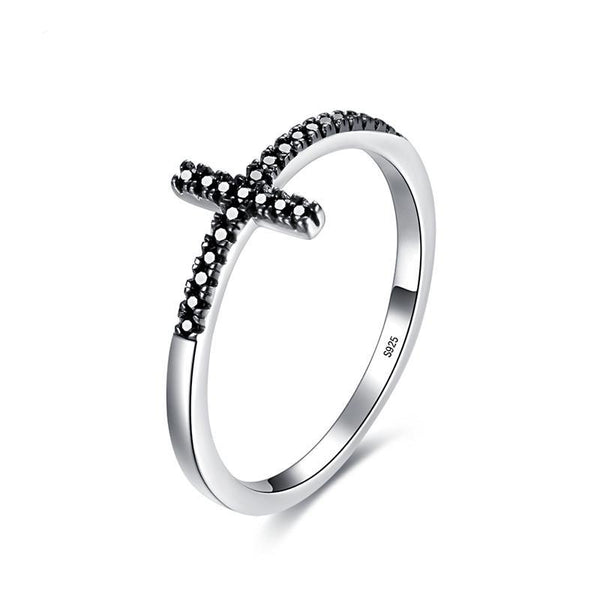 925 Sterling Silver Black Cubic Zirconia Cross Ring