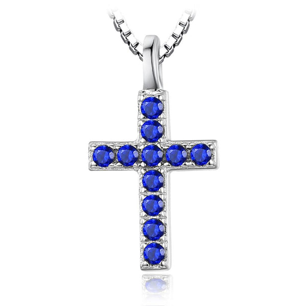 925 Sterling Silver Created Blue Spinel Cross Necklace - Includes Chain