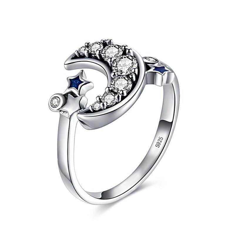 925 Sterling Silver Adjustable Crescent Moon & Star Ring
