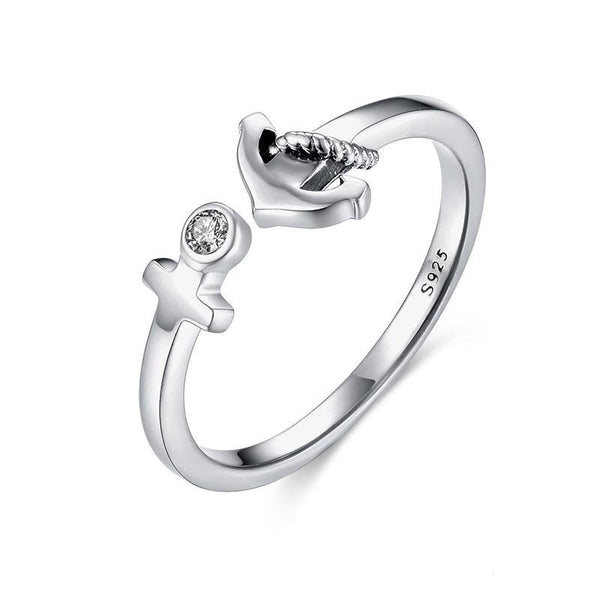 925 Sterling Silver Anchor Rope Resizable Ring