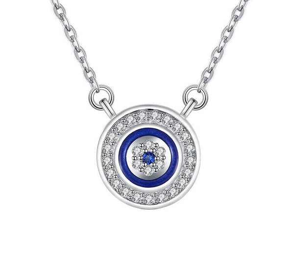925 Sterling Silver Tension Lucky Evil Eye Necklace