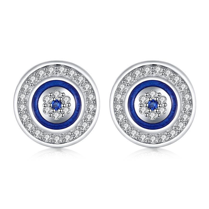 925 Sterling Silver Lucky Evil Eye Stud Earrings