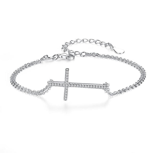 925 Sterling Silver Lucky Cross Charm Bracelet