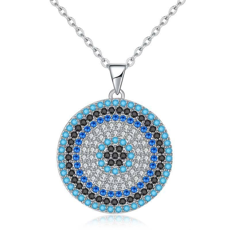 925 Sterling Silver Colorful Evil Eye Infinity Pendent