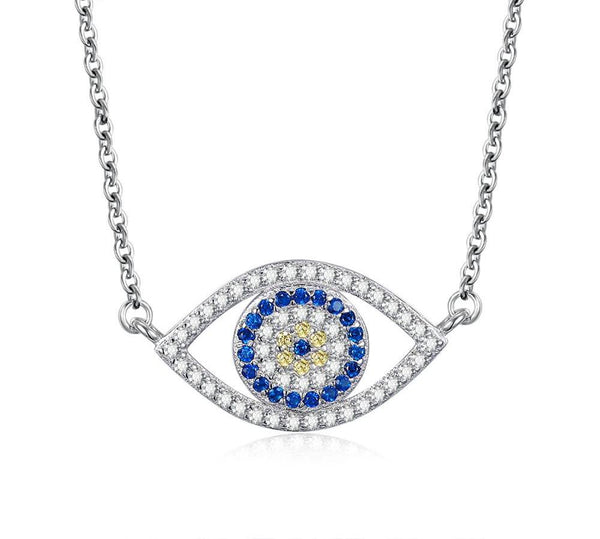 925 Sterling Silver Lucky Blue Evil Eye Necklace