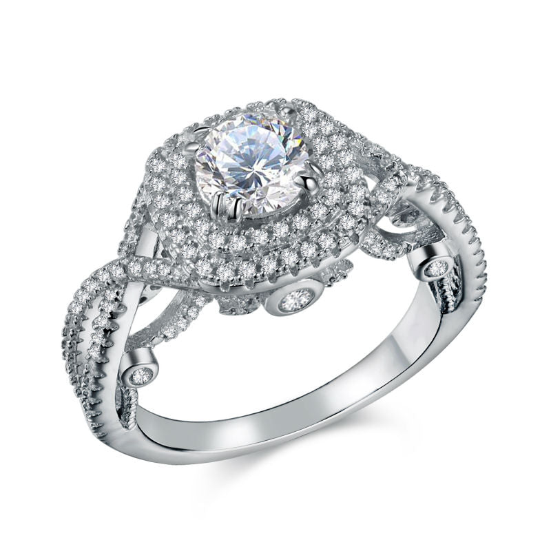 Classic Ring with 2.4 Ct Round CZ on Sterling Silver 1062